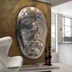 Faz II Máscara decorativa 96x160x54cm - Espejo plata, fondo blanco