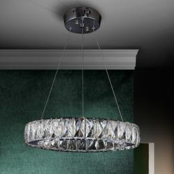 Diva Lámpara colgante redonda LED 24W ø34x6cm - Cromado y transparente