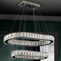 Diva Lámpara colgante ovalada LED 24W 61x6x31cm - Cromado y transparente