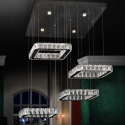 Diva Lámpara colgante 4L LED 108W 60x6x60cm - Cromado y transparente