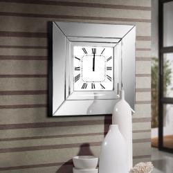 Lucy reloj de pared marco con espejos biselados 60x60x10cm - Cromado y transparente