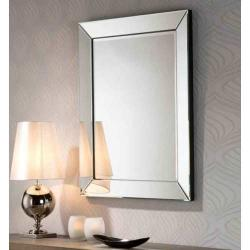 Roma Espejo rectangular 75x95x4cm - Espejo plata, lacado negro