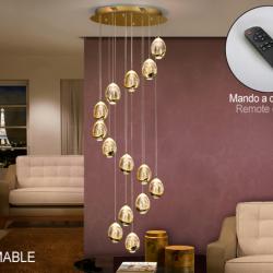 Rocío Lámpara colgante 70W LED ø50x100cm - Dorado y transparente