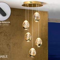 Rocío Lámpara colgante 5L 25W LED ø30x45cm - Dorado y champán