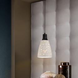 Contra Lámpara colgante 60W LED ø18x30cm - Negro y blanco