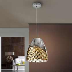 Riviera Lámpara colgante LED 60W ø25x27cm - Cromo y dorado