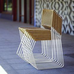Ramon silla Estructura metálica y fibra blanco