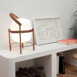 Cesta Tischleuchte E27 75W - Struktur Holz kirsche lampenschirm Glas weiß opal