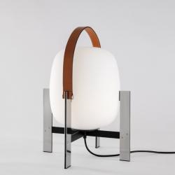 Cesta Metálica Sobremesa con asa piel color natural E27 60W - acero inoxidable
