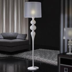 Lena Floor Lamp 174x45cm 1xE27 LED 10W - Lacquered white bright