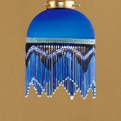 Lluvia Pendant Lamp 2L oxide forge + lampshade fringe Blue