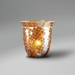 abat-jour mosaïque dôme orange