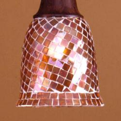 Lluvia Pendant Lamp 3L oxide forge + lampshade dome mosaic Brown