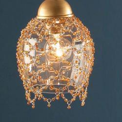 Lluvia Pendant Lamp 3L polished gold + lampshade net trinkets