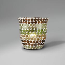 Lluvia Pendant Lamp 1L polished gold + lampshade mosaic Green/Brown