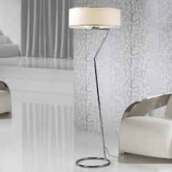Lineal lámpara of Floor Lamp 3L steel Inox + lampshade Chinz white