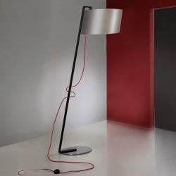 Flow lámpara de Pie 1L negro Brillo + pantalla Plata