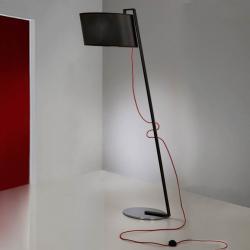 Flow lámpara de Pie 1L negro Brillo + pantalla Negra