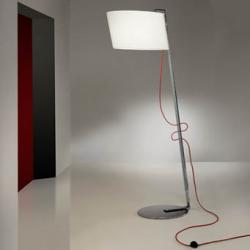Flow lámpara of Floor Lamp 1L Chrome steel Inox + white lampshade