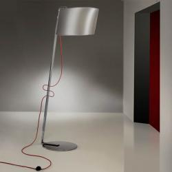 Flow lámpara of Floor Lamp 1L Chrome steel Inox + lampshade Silver