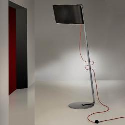 Flow lámpara de Pie 1L Cromo acero Inox + pantalla Negra