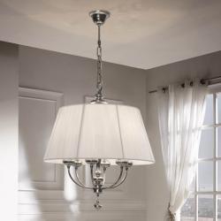 Artemis Pendelleuchte 6xE14 LED 4W Silber gealtert + lampenschirm Hilo/Vinilo weiß