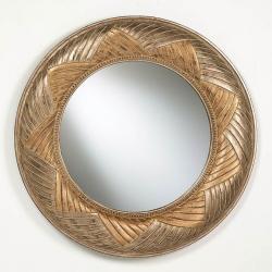 miroir Ronde Feuille d´or/Argent