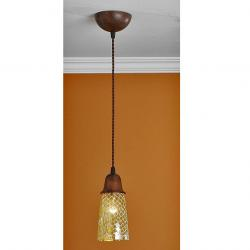 Lluvia Pendant Lamp 1L oxide forge + lampshade mosaic Yellow