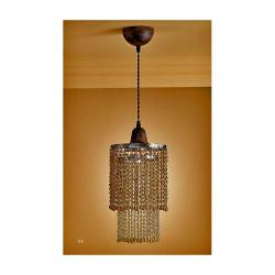 Lluvia Pendant Lamp 1L oxide forge + lampshade Glass ámbar Large