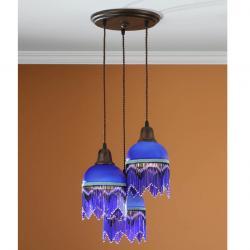 Lluvia Pendant Lamp 3L oxide forge + lampshade Fleco Blue Oscuro