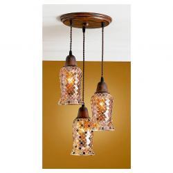 Lluvia Pendant Lamp 3L oxide forge + lampshade Copper thin