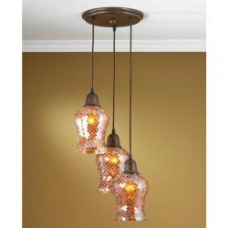 Lluvia Pendant Lamp 3L oxide forge + lampshade Copper