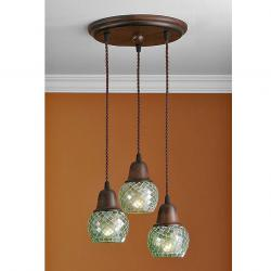 Lluvia Pendant Lamp 3L oxide forge + lampshade mosaic Green