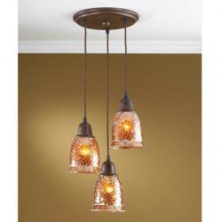 Lluvia Pendant Lamp 3L oxide forge + lampshade mosaic orange