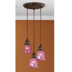 Lluvia Pendant Lamp 3L oxide forge + lampshade dome mosaic Rosa