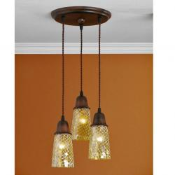 Lluvia Pendant Lamp 3L oxide forge + lampshade conical mosaic Yellow