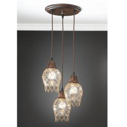Lluvia Pendant Lamp 3L oxide forge + lampshade net trinkets