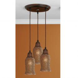 Lluvia Pendant Lamp 3L oxide forge + lampshade grainy gold