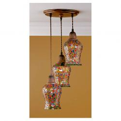 Lluvia Pendant Lamp 3L oxide forge + lampshade various Colors