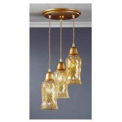 Lluvia Pendant Lamp 3L polished gold + lampshade amarilla