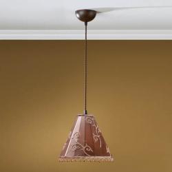 Lámpara Colgante 1L xido Fragua + pantalla marrn con fleco Oro