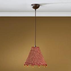 Lámpara Colgante 1L xido Fragua + pantalla Rojo con fleco