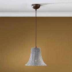 Lámpara Colgante 1L xido Fragua + pantalla de rattan