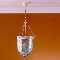Sorrento Lámpara Colgante 1L Óxido Fragua + pantalla Cristal Aqua