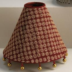 Accessoire abat-jour rouge avec frange 33cm