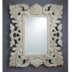 miroir Moldura Calado Patina blanc /Oro Brocheado