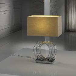 Órbita Table Lamp 1L Nickel pulido + lampshade Tostado