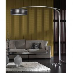 Ibis lámpara de Pie E27 LED 3x10W Aluminio/Cromo + pantalla tela Negra