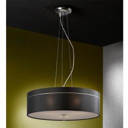 Ibis Lámpara Colgante 3L Cromo + pantalla tela negro