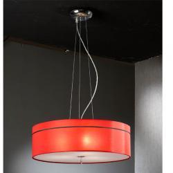 Ibis Lâmpada pingente 3L Cromo + abajur tecido Vermelho